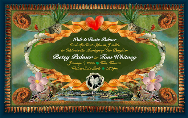 Many photographs taken around Tom & Betsy yard of plants and bired and seeds were combined nicely in their wedding invitation.