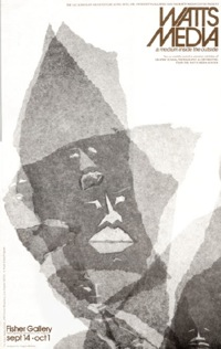 art image of an African-looking person on poster for the Watts Media Center.